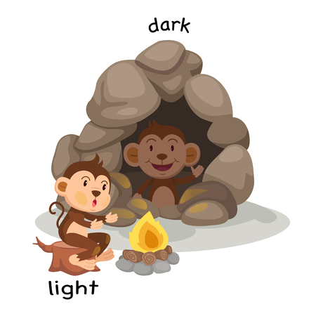 Student Life: Opposite light and dark vector illustration Illustration