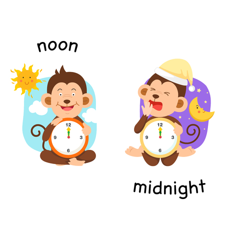 Opposite noon and midnight vector illustration