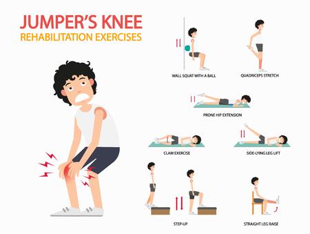 ćwiczenia rehabilitacyjne na kolanach ćwiczenia infograficzne, ilustracji wektorowych.