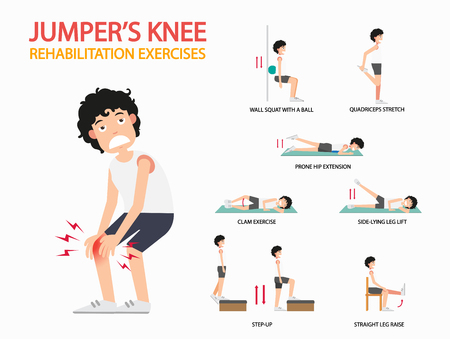 jumpers knee rehabilitation exercises infographic, vector illustration.