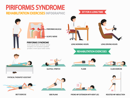 piriformis syndrome rehabilitation exercises infographic, vector illustration.