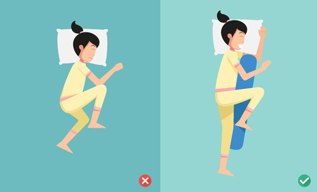 Best and worst positions for sleeping, illustration vector