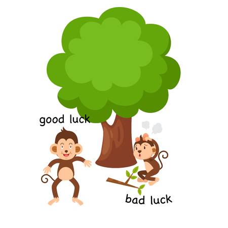 Representation of good and bad luck. Vector illustration