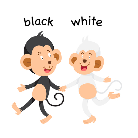 Opposite black and white vector illustration