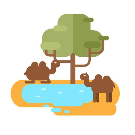 Camel on pond illustration.