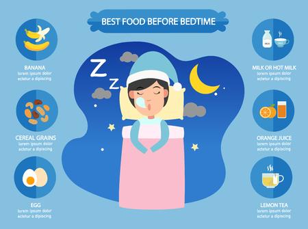 Best foods before bedtime infographic, vector illustration