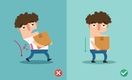 Wrong and right carrying position. Stock Vector - 87735118
