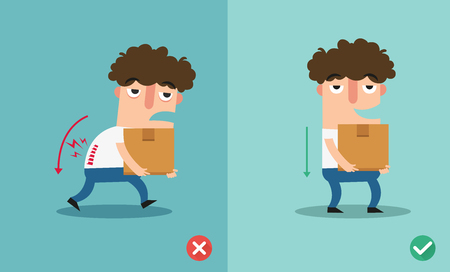 Wrong and right carrying position. Stock Vector - 87735120