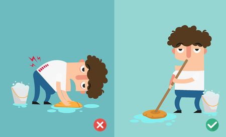 Right and wrongs way to clean the floor.