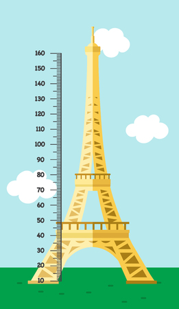 Meter wall with tour eiffel.vector illustration