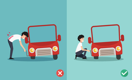 right and wrong ways to fixing car a car,illustration, vector
