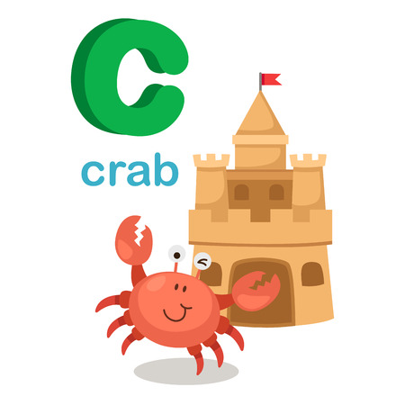Student Life: Illustration Isolated Alphabet Letter C Crab. Illustration