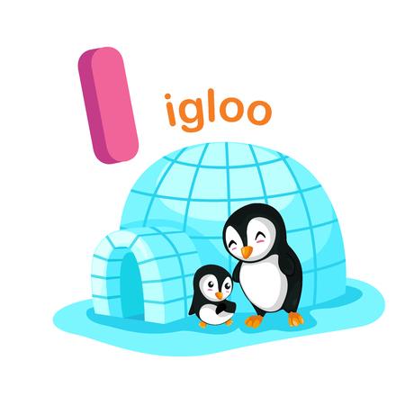 Illustratie geïsoleerde alfabet Letter I Igloo.vector
