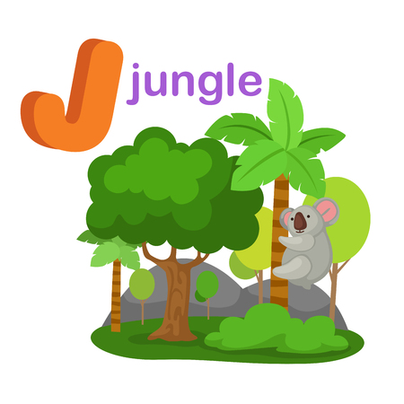 Illustration Isolated Alphabet Letter J Jungle.vector Stock fotó - 89002763