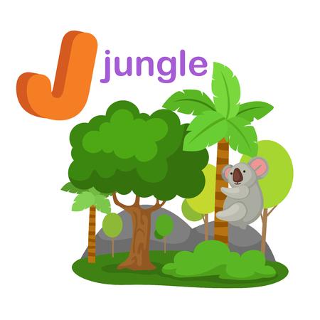 Illustration Isolated Alphabet Letter J Jungle.vector Illustration