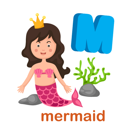 literacy: Illustration Isolated Alphabet Letter M Mermaid.vector