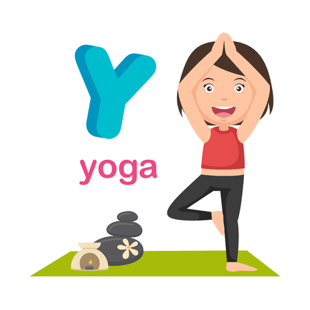 Illustration Isolated Alphabet Letter Y Yoga.vector Illustration