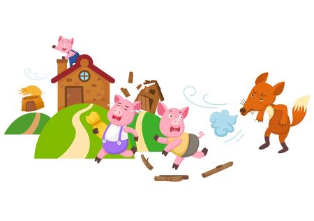 Ilustracja na białym tle bajka trzy małe świnki wektor.