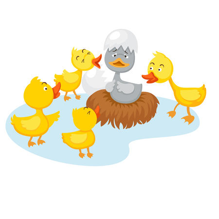 Fairy tale ugly duckling, vector illustration.