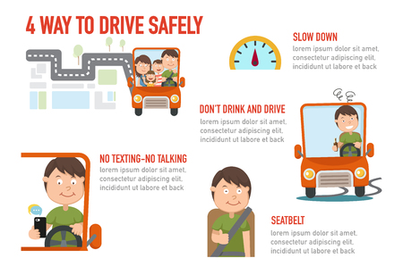 Illustration of isolated 4 way to drive safely vector. 일러스트