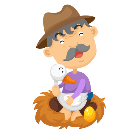 illustration of isolated goose with golden egg fairy tale vector