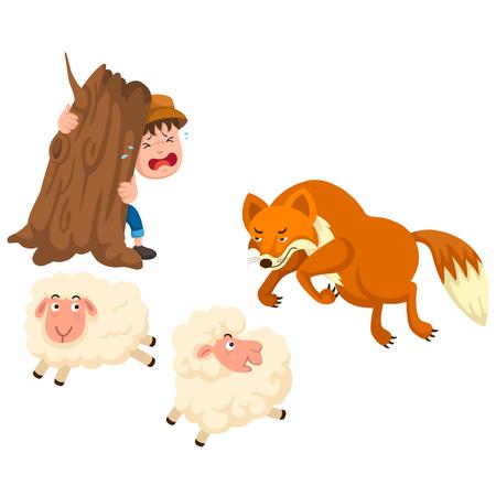 ilustracja na białym tle pasterza wektor bajki Ilustracje wektorowe