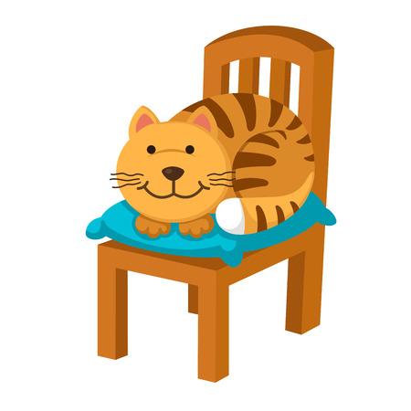 Illustration cartoon cute cat isolated on white background vector Ilustração