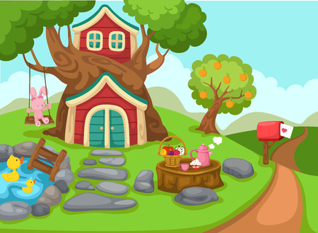 illustration of a tree house in rural landscape vector