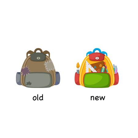 Old and new bag, opposite concept illustration Illustration