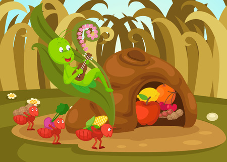 illustration of isolated the ant and the grasshopper  fairy tale vector  イラスト・ベクター素材