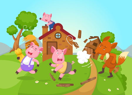 illustration of isolated fairy tale three little pigs vector