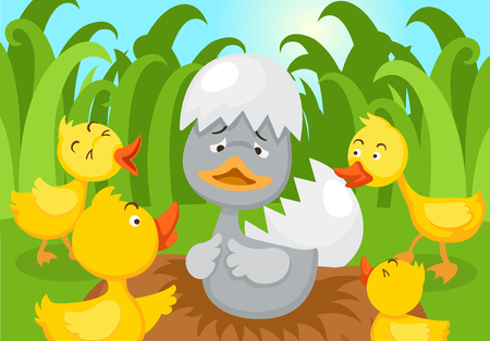Fairy tale ugly duckling,vector illustration.