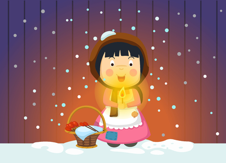 illustration of isolated the little match girl fairy tale vector