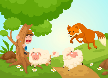 illustration of isolated the shepherd boy fairy tale vector