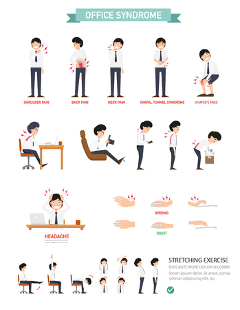 Office syndrome infographic,vector illustration Vector Illustration