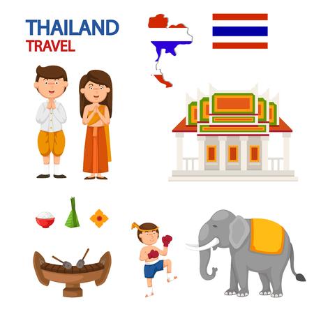 thailand travel illustration vector