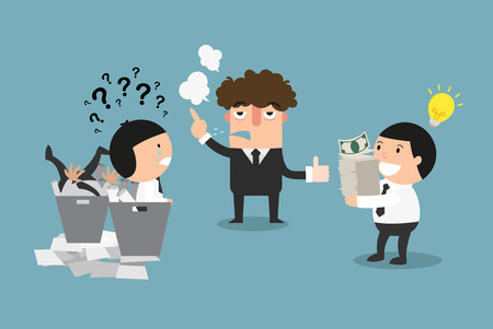 The concept of a boss picking the good employee with money making idea and firing the unproductive one.
