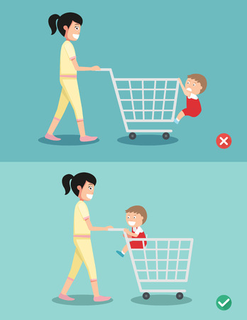 Danger and safety for kid sit in the shopping cart, vector illustration.
