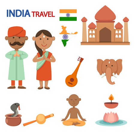 India travel illustration vector.