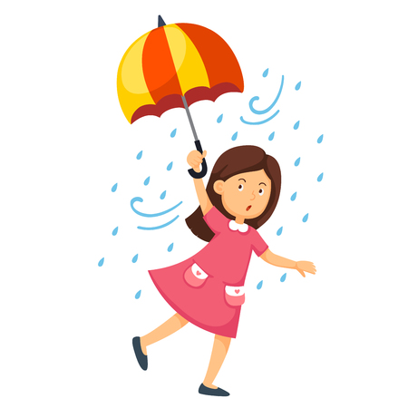 Illustration of a girl holding an umbrella on a white background vector.