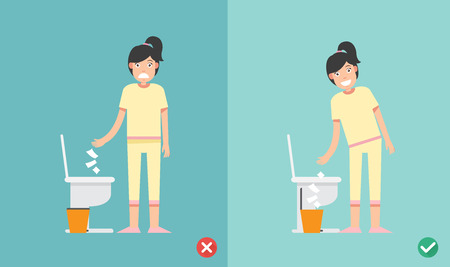 Wrong and right way do not put tissue paper sheet into the toilet bowl illustration vector. Ilustração