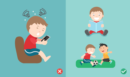 Wrong and right way for kids stop using smartphone illustration vector.