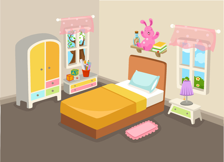 Vector illustration of a bedroom interior with a bed vector Çizim