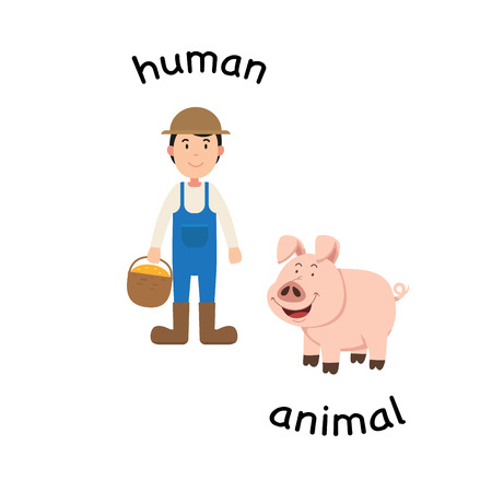 Opposite human and animal vector illustration