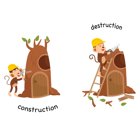 Opposite construction and destruction vector illustration