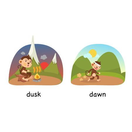Opposite dusk and dawn vector illustration Illustration