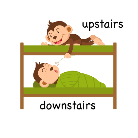 Opposite upstairs and downstairs vector illustration