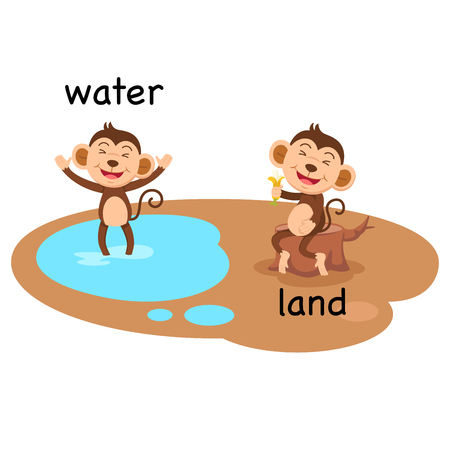 Opposite water and land vector illustration