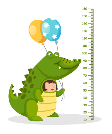 Meter wall with crocodile costume .vector illustration