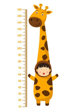 Meter wall with giraffe costume.vector illustration Illustration